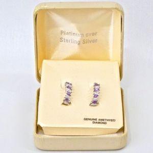 AMETHYST & DIAMOND~HOOP EARRINGS~STERLING~IN BOX
